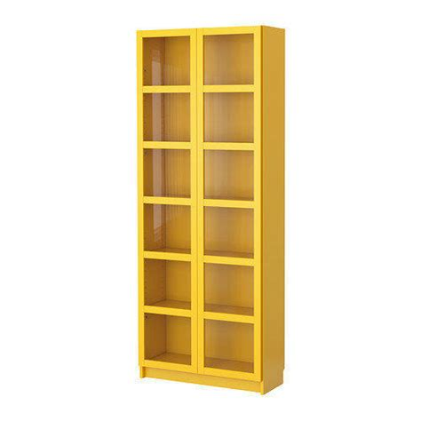 billy bookcase with glass doors yellow from ikea