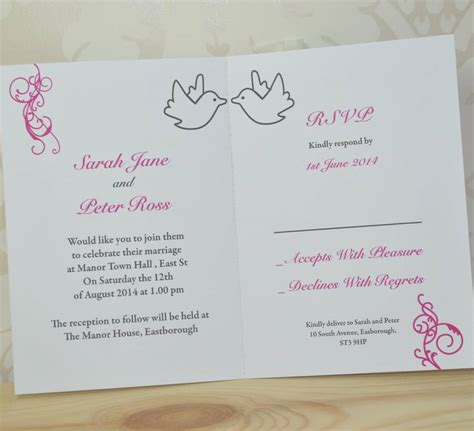 wedding invitations and rsvp dove and swirl wedding invitation and rsvp by sweet pea
