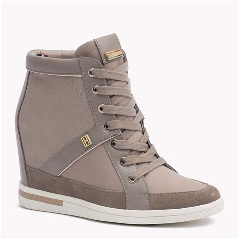 Hilfiger Wedges by Hilfiger Mixed Canvas Wedge Sneaker In Gray Lyst