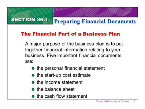 The Financial Analysis Section Of A Business Plan Should by Section 36 1 Preparing Financial Documents Ppt