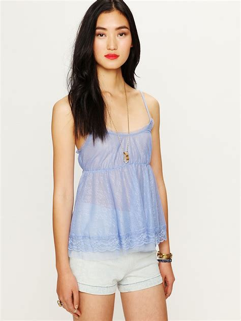 Free Top Free All Lace Babydoll Top In Blue Lyst