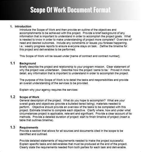 scope of work template free statement of work word template equipment contract template