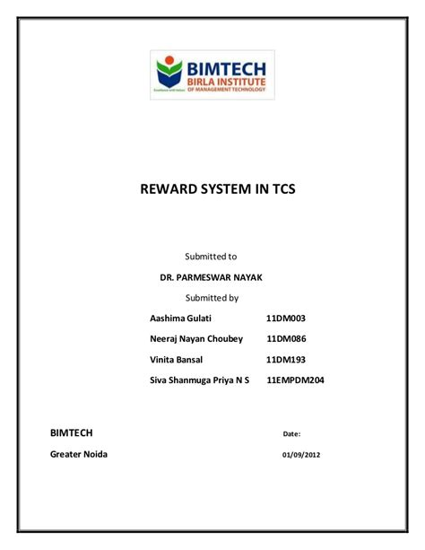 TCS   Reward System   Detailed Report