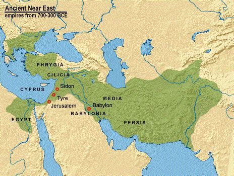 middle east map babylon 4 horses 4 horns 4 beasts of zechariah and