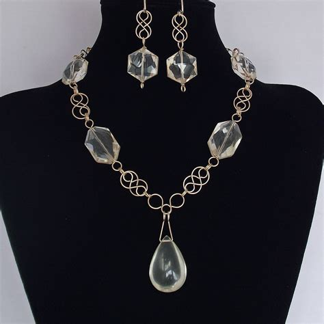 Handcrafted Jewellery - faceted quartz gemstone necklace earrings rolled gold wire