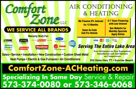 comfort zone air conditioning heating llc