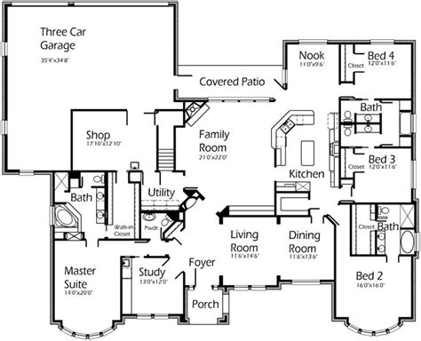 one story floor plans with bonus room love this single story floor plan love the quot shop quot area
