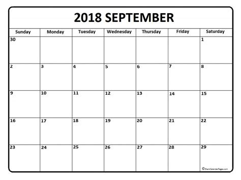 Printable September Calendar 2018