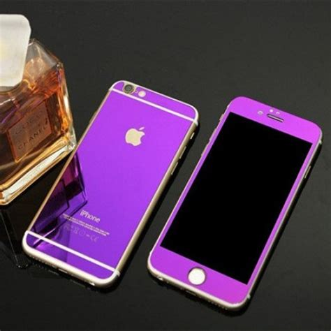 apple iphone 6 6s front back purple tempered screen glass
