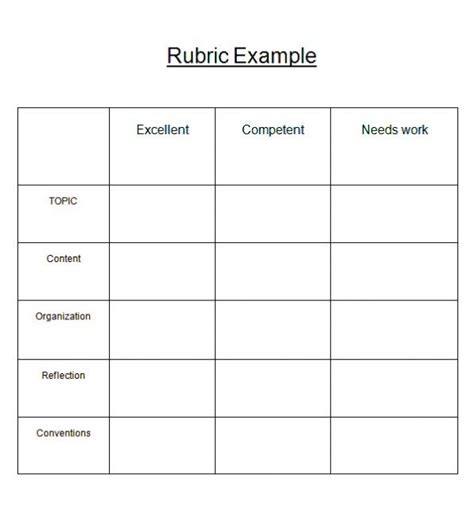 Blank Grading Project Rubric Template Word Excel Rubric Template Word