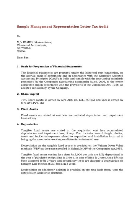 Management Letter Template by Sle Management Representation Letter