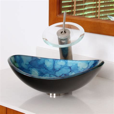 Glass Bathroom Sink Elite 1413 Unique Oval Cloud Style Tempered Glass Bathroom Vessel Sink Bathroom Sinks