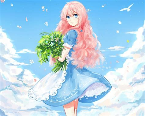 Hq 12962 Green Flower Dress wallpaper tags anime lovely gown floral