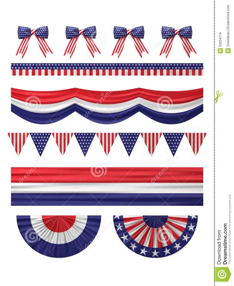 decorations us usa independence day decoration borders set stock
