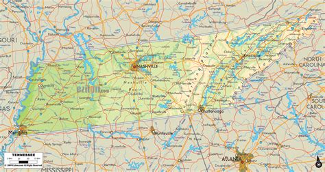 map of tennessee cities physical map of tennessee ezilon maps