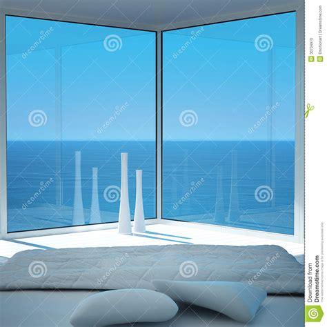 letto sul mare interno soleggiato della da letto con la vista di