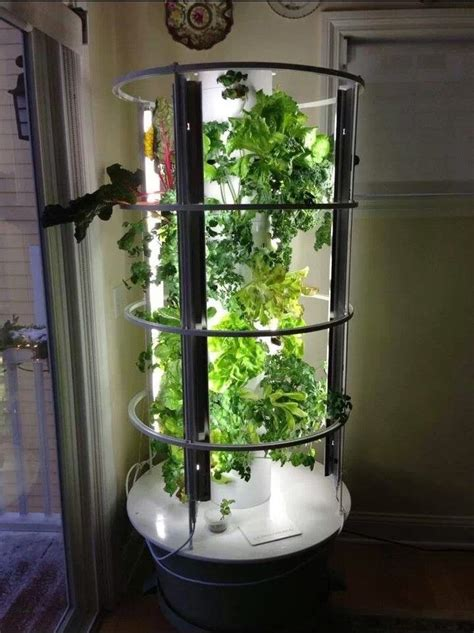 indoor tower garden  grow lights    idea