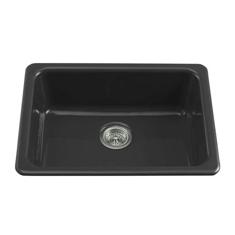 kitchen sink black kohler dual mount cast iron 24 in single basin kitchen
