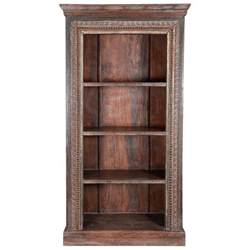 open shelves bookcases lincoln study carved wood 4 shelf open bookcase