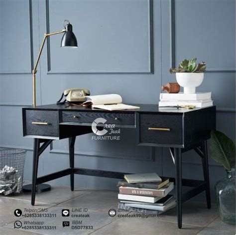 Meja Vintage meja kerja retro duco hitam createak furniture