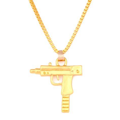 cadena de plata larga hombre hombre mujer colgante pistola collar cadena larga hip hop