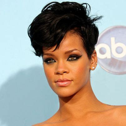 short pompadour hairstyles for black women pompadour rihanna and cut shorts on pinterest