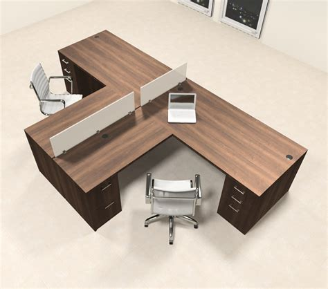 Office Desk For 2 Two Person L Shaped Modern Divider Office Workstation Desk Set Ch Amb Sp34 Ebay