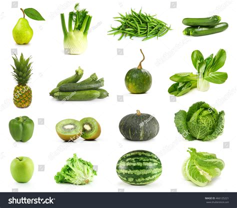 a z fruits only only green fruits vegetables isolated on stock photo