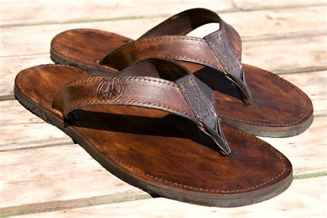 Handmade Leather Flip Flops - leather flip flops sandals surfer