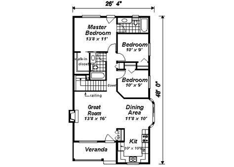 Cottage Style House Plan 3 Beds 2 Baths 1112 Sq Ft Plan Rectangular House Plans 3 Bedroom 2 Bath
