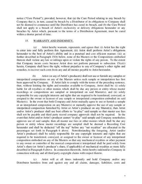 Letter Of Agreement Artist Artist Owned Record Company Letter Of Intent Contract