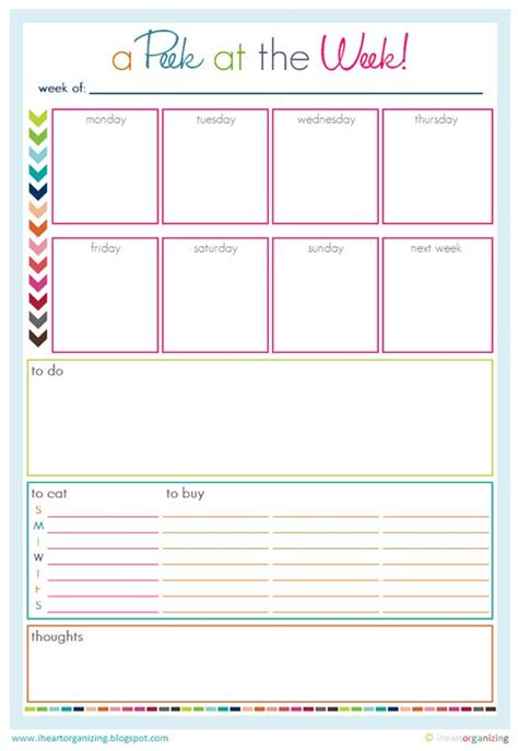 colorful printable weekly planner free organizing worksheets printables and planners