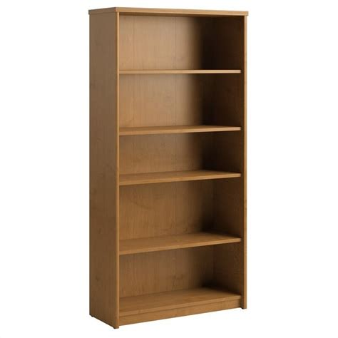 bush envoy 5 shelf wood bookcase in cherry pr76365