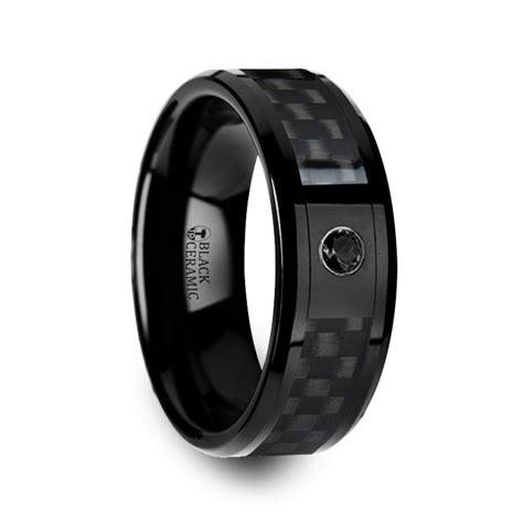 carbon fiber ceramic wedding band aberdeen black ceramic ring with black wedding
