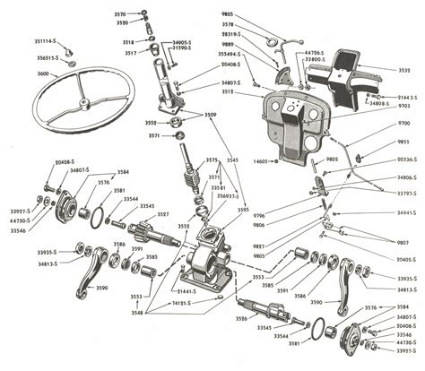 8n ford tractor parts diagram steering gear parts for ford 8n tractors asn 216988