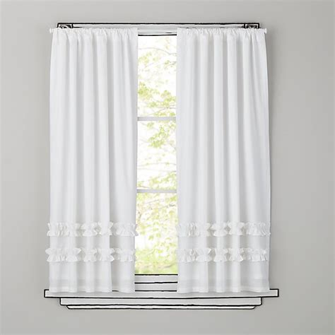 White Ruffle Curtains Curtains White Ruffle Curtain Panels The Land Of Nod