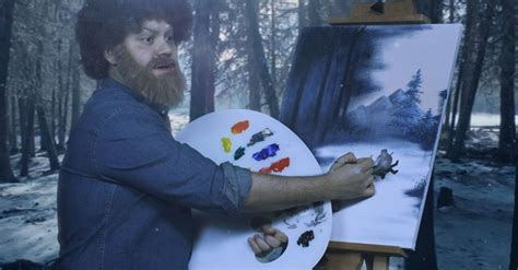 bob ross painting the revenant if bob ross painted the revenant and all its happy