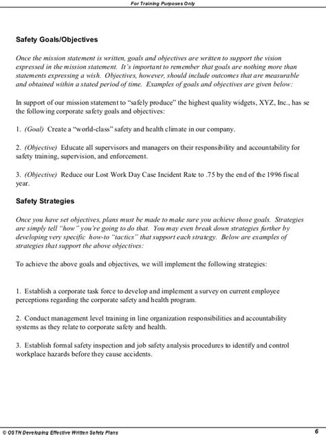 Writing Effective Safety Plan Written Safety Plan Template