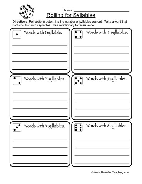 6 Syllable Types Worksheets by Syllable Worksheets Teaching