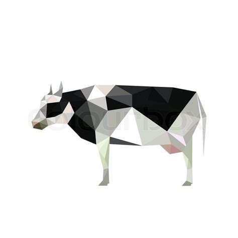 Origami Cow - illustration of origami cow with spots isolated on white