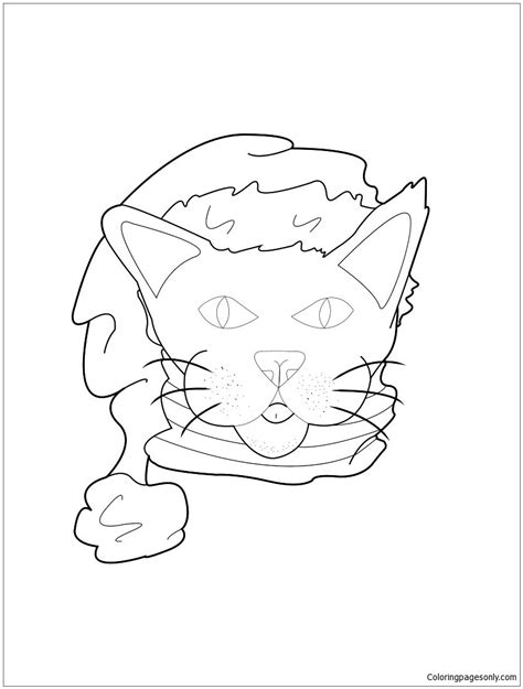 cat with santa hat coloring page free coloring pages online