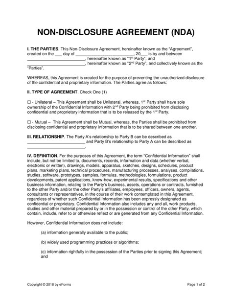 software development non disclosure agreement template non disclosure nda agreement templates eforms free