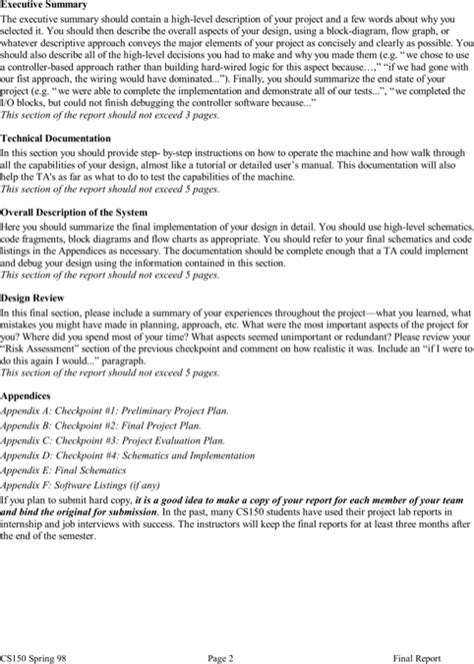 executive summary exle template project summary templates for free formtemplate