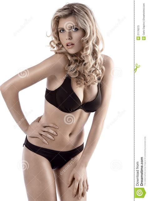 show me curly model pose hairstyles curly haired blonde posing in bikini stock photos image