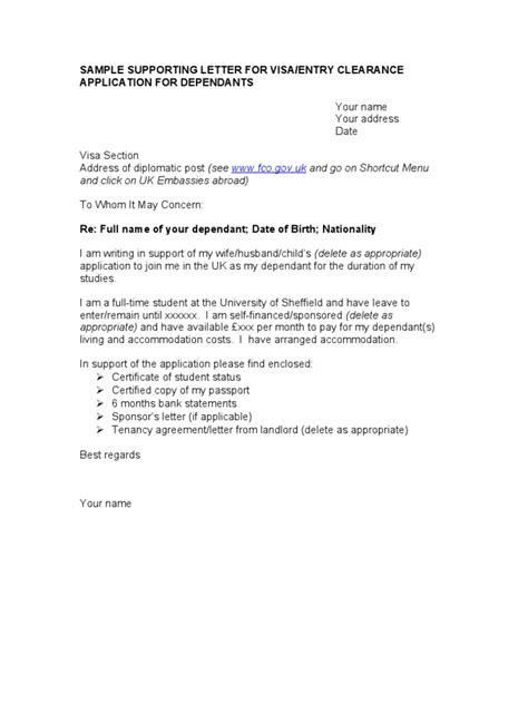Support Letter For Tourist Visa visa sle letter