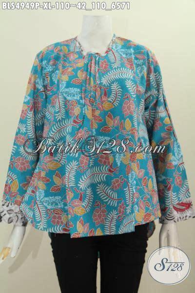 Blus Batik Biru Xl jual pakaian batik blus lengan panjang warna biru desain keren motif unik proses printing yang