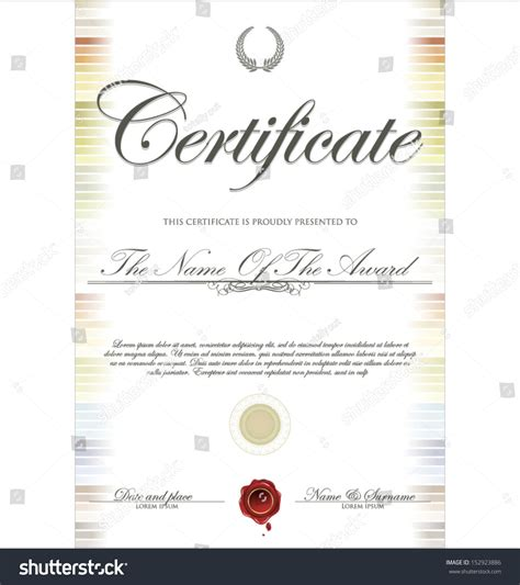 colorful certificate template colorful certificate template stock vector illustration