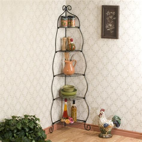 decorative corner shelves scrolled black corner etagere corner shelves