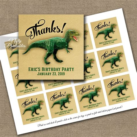 printable dinosaur gift tags dinosaur thank you favor tags nifty printables