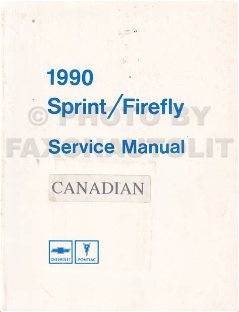 service manual old car manuals online 1990 pontiac grand 1990 pontiac firefly chevy sprint repair shop manual original canadian